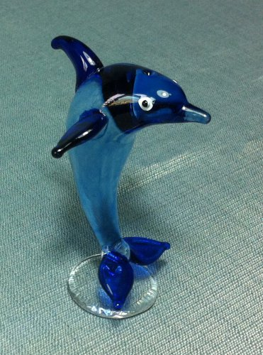 Dolphin Fish Miniature Funny Animal Hand Blown Painted Glass Statue Figure Small Craft Collectible