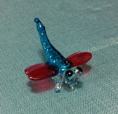 Dragonfly Insect Miniature Animal Hand Blown Painted Glass Statue Figure Small Craft Collectible