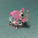 Elephant Pink Miniature Funny Animal Hand Blown Painted Glass Statue Figure Small Craft Collectible