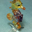 Seahorse Fish Miniature Funny Animal Hand Blown Painted Glass Statue Figure Small Craft Collectible