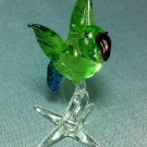 Parrot Bird Miniature Funny Animal Hand Blown Painted Glass Statue Figure Small Craft Collectible