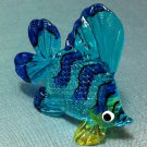 Exotic Fish Blue Miniature Animal Hand Blown Painted Glass Statue Figure Small Craft Collectible