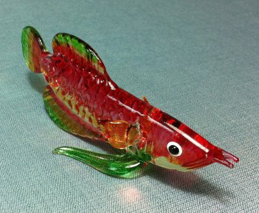 Exotic Fish Red Miniature Animal Hand Blown Painted Glass Statue Figure Small Craft Collectible