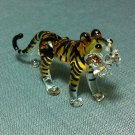 Tiger Yellow Miniature Funny Animal Hand Blown Painted Glass Statue Figure Small Craft Collectible