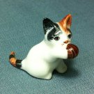 Cat Kitty Miniature Funny Animal Hand Made Painted Ceramic Statue Figure Small Craft Collectible