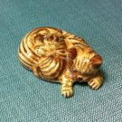 Sleeping Cat Miniature Funny Animal Hand Made Painted Ceramic Statue Figure Small Craft Collectible