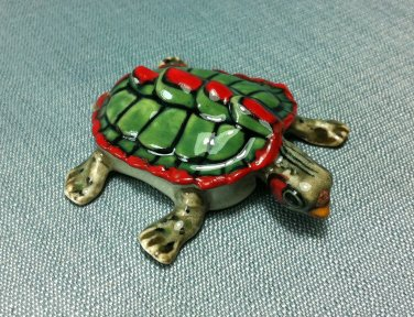 Turtle Green Miniature Funny Animal Hand Made Painted Ceramic Statue Figure Small Craft Collectible