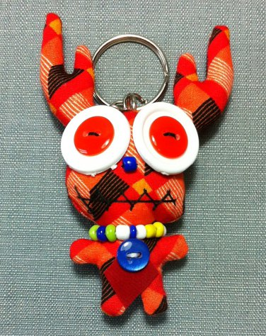 Funky Deer Cute Animal Orange Vintage Fabric Doll Funny Keyring Keychain Key Ring Key Chain Bag Car