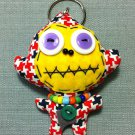 Funky Monkey Cute Animal Stars Vintage Fabric Doll Funny Keyring Keychain Key Ring Key Chain Bag Car