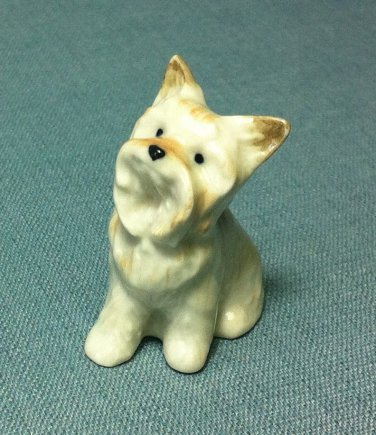 Bichon Dog Miniature Funny Animal Hand Made Painted Ceramic Statue Figure Small Craft Collectible