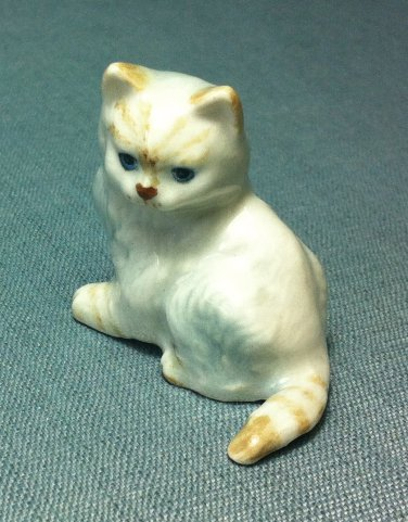 Angora Cat Miniature Funny Animal Hand Made Painted Ceramic Statue Figure Small Craft Collectible