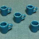 5 Cups Mugs Tea Coffee Glasses Tiny Blue Ceramic Miniature Dollhouse Decoration Jewelry Hand Painted