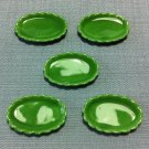 5 Plates Tiny Dishes Display Oval Green Ceramic Miniature Dollhouse Decoration Jewelry Hand Painted