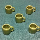 5 Cups Mugs Tea Coffee Tiny Brown Beige Ceramic Miniature Dollhouse Decoration Jewelry Hand Painted