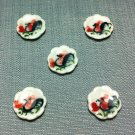 5 Plates Tiny Dishes Round White Rooster Ceramic Miniature Dollhouse Decoration Jewelry Hand Painted