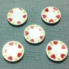 5 Plates Tiny Dish Round White Heart Ceramic Miniature Dollhouse Decoration Jewelry Hand Painted