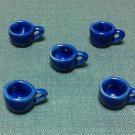 5 Cups Mugs Tea Coffee Glasses Tiny Blue Ceramic Miniature Dollhouse Decoration Hand Painted Beads