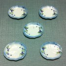 5 Plates Tiny Dishes White Blue Flowers Ceramic Miniature Dollhouse Decoration Jewelry Hand Painted