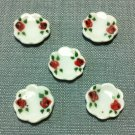 5 Plates Tiny Dishes Round White Roses Ceramic Miniature Dollhouse Decoration Jewelry Hand Painted