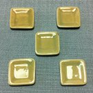 5 Plates Tiny Dish Squared Beige Ceramic Miniature Dollhouse Decoration Jewelry Hand Painted Supply