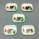 5 Plates Tiny Dish Squared White Rooster Ceramic Miniature Dollhouse Decoration Jewelry Hand Painted