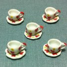 5 Cups Mugs Tea Coffee Plates Tiny Hearts White Ceramic Miniature Dollhouse Decoration Hand Painted