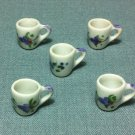 5 Cups Mugs Tea Coffee Tiny White Flower Ceramic Miniature Dollhouse Decoration Jewelry Hand Painted