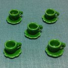 5 Cups Mugs Tea Coffee Plates Tiny Green Ceramic Miniature Dollhouse Decoration Hand Painted Supply