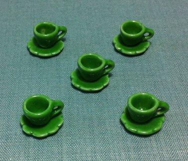 5 Cups Mugs Tea Coffee Plates Tiny Green Ceramic Miniature Dollhouse Decoration Hand Painted Supply