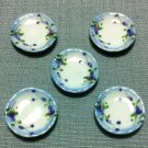 5 Plates Tiny Dishes White Round Flowers Ceramic Miniature Dollhouse Decoration Jewelry Hand Painted