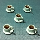 5 Cups Mugs Coffee Plates Spoon Tiny White Ceramic Miniature Dollhouse Decoration Hand Made Supply