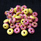 20 Donuts Cookies Pink Round Food Cakes Tiny Food Clay Fimo Miniature Dollhouse Jewelry Beads