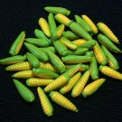 20 Ears of Corn Vegetables Veggies Tiny Yellow Green Food Clay Fimo Miniature Dollhouse Jewelry