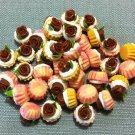 10 Cupcakes Cupcake Food Chocolate Roses Cakes Tiny Clay Fimo Miniature Dollhouse Jewelry Beads