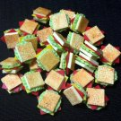 20 Club Sandwich Sandwiches Snack Tiny Bread Fast Food Clay Fimo Miniature Dollhouse Jewelry Beads