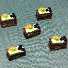 5 Chocolate Cakes Food Orange Fruits Tiny Pastry Clay Fimo Miniature Dollhouse Jewelry Hand Made