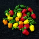 20 Mix Bell Peppers Vegetables Veggies Tiny Red Green Food Clay Fimo Miniature Dollhouse Jewelry