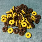 20 Donuts Cookies Brown Chocolate Food Cakes Tiny Food Clay Fimo Miniature Dollhouse Jewelry Beads