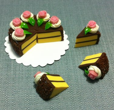 8 Slices Cake Food Chocolate Cream Roses Tiny Pastry Clay Fimo Miniature Dollhouse Jewelry Hand Made
