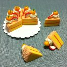 8 Slices Cake Food Orange Cream Fruits Tiny Pastry Clay Fimo Miniature Dollhouse Jewelry Hand Made