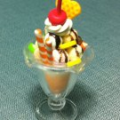 1 Ice Cream Cup Fruits Orange Food Clay Fimo Plastic Miniature Dollhouse Jewelry Decoration