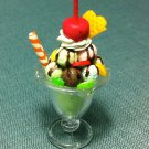 1 Ice Cream Cup Fruits Green Lemon Food Clay Fimo Plastic Miniature Dollhouse Jewelry Decoration