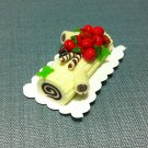 1 Yule Log Christmas Cake Fruits White Cream Food Clay Fimo Miniature Dollhouse Jewelry Decoration