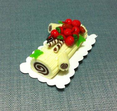 1 Yule Log Christmas Cake Fruits White Cream Food Clay Fimo Miniature Dollhouse Jewelry Decoration