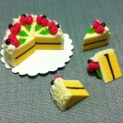 8 Slices Cake Food White Cream Roses Tiny Pastry Clay Fimo Miniature Dollhouse Jewelry Hand Made