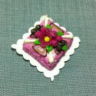 Birthday Valentine Cake Food Purple Flowers Tiny Clay Fimo Miniature Dollhouse Jewelry Hand Made