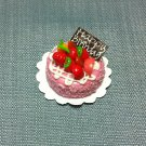 Birthday Valentine Cake Food Pink Fruits Tiny Clay Fimo Miniature Dollhouse Jewelry Hand Made