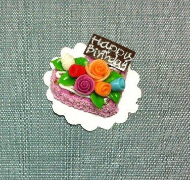 Birthday Valentine Cake Food Pink Heart Roses Tiny Clay Fimo Miniature Dollhouse Jewelry Hand Made