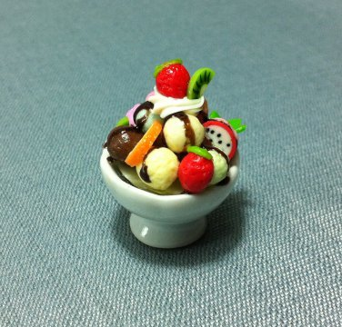 1 Ice Cream Cup Fruits Chocolate Food Clay Fimo Ceramic Miniature Dollhouse Jewelry Decoration