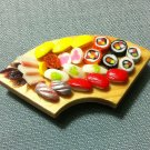 1 Sushis Set Japanese Tray Fish Japan Food Clay Fimo Dish Miniature Dollhouse Jewelry Decoration